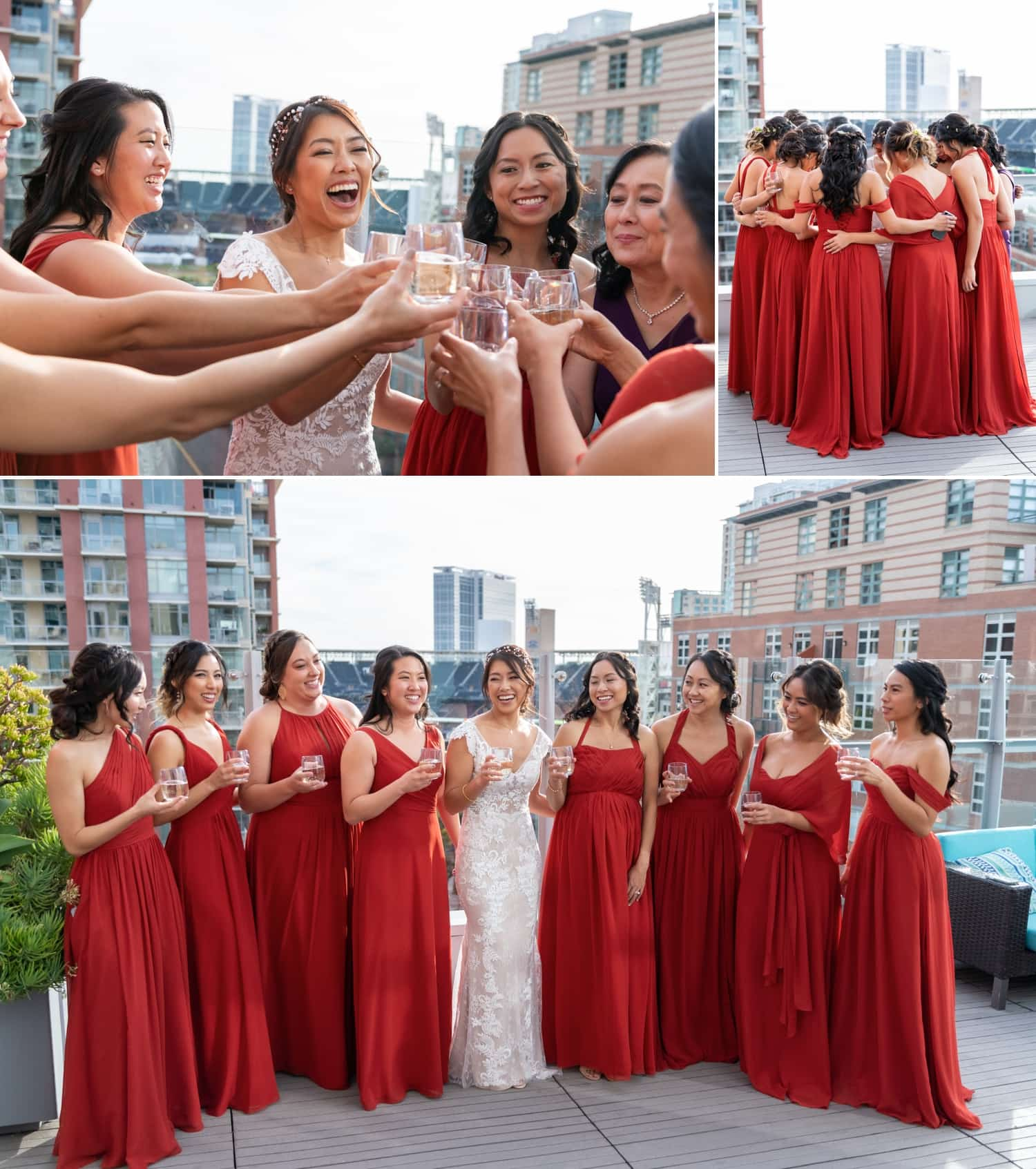 Bride and her bridesmaids on a balcony in San Diego.