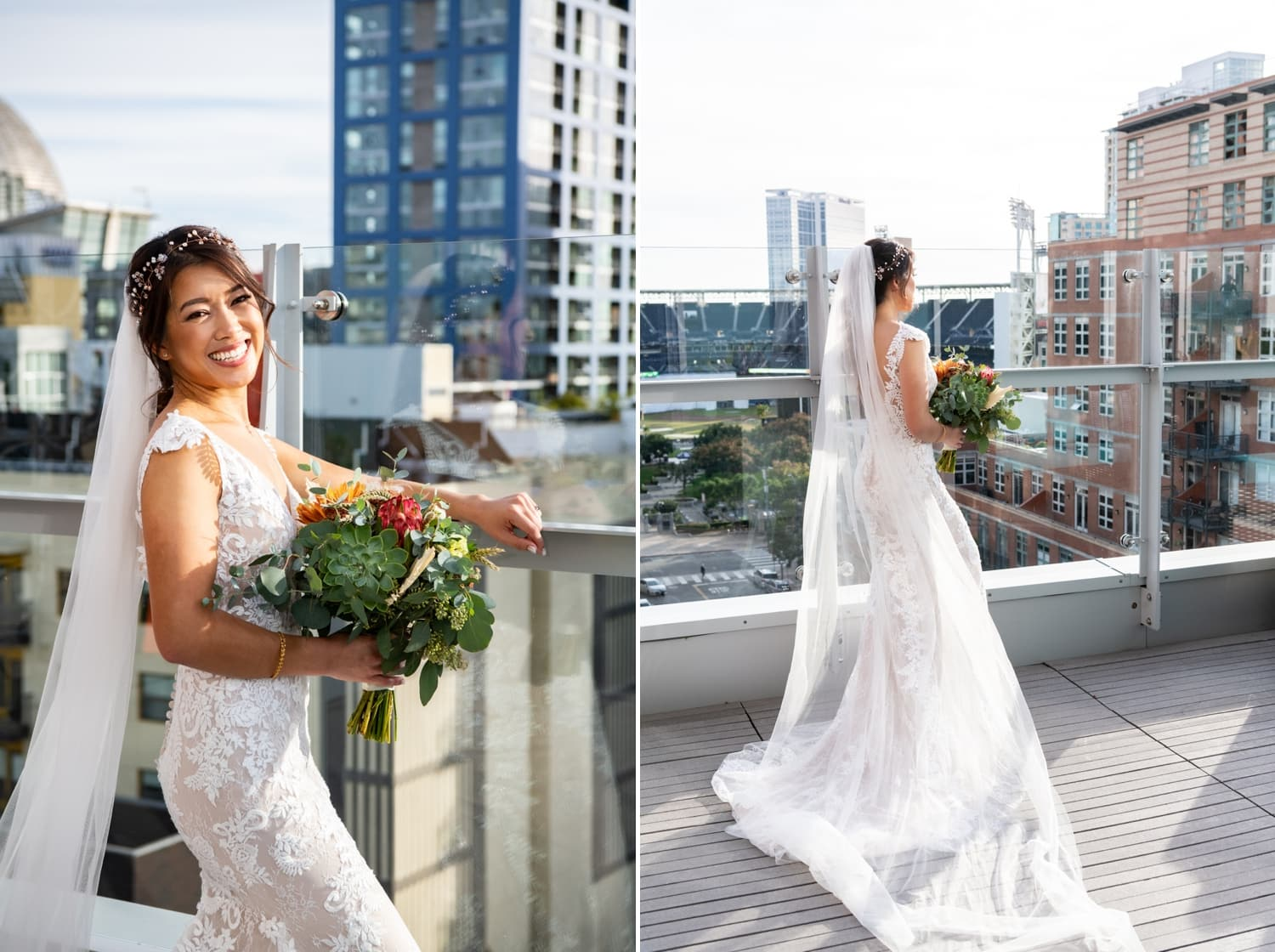 Bride on a balcony in downtown San Diego before her wedding.