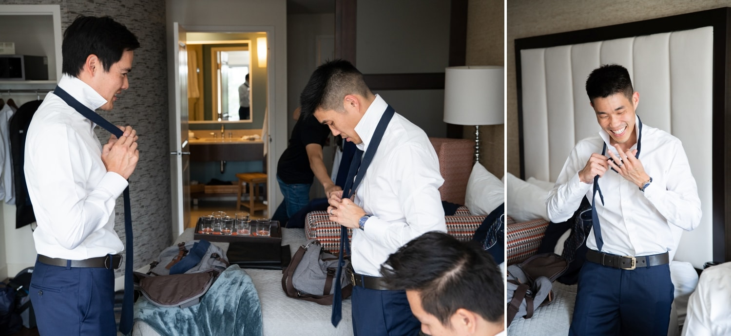 Groomsmen getting ready in a hotel in San Diego.