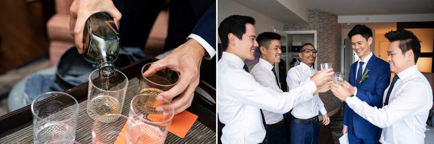 Groom and his groomsmen having a drink before the ceremony.