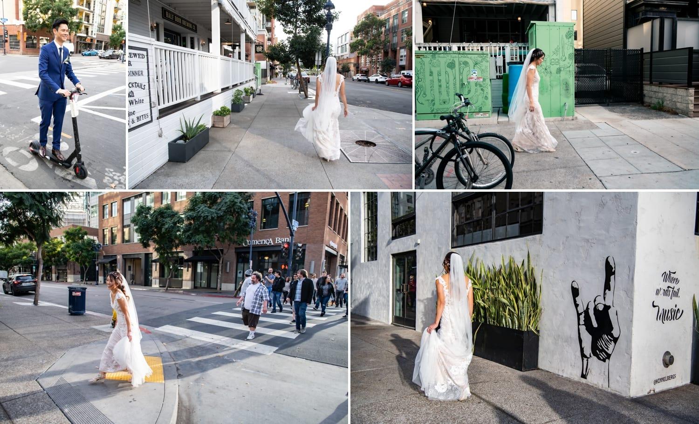 Bride walking to her wedding at Luce Loft in San Diego.