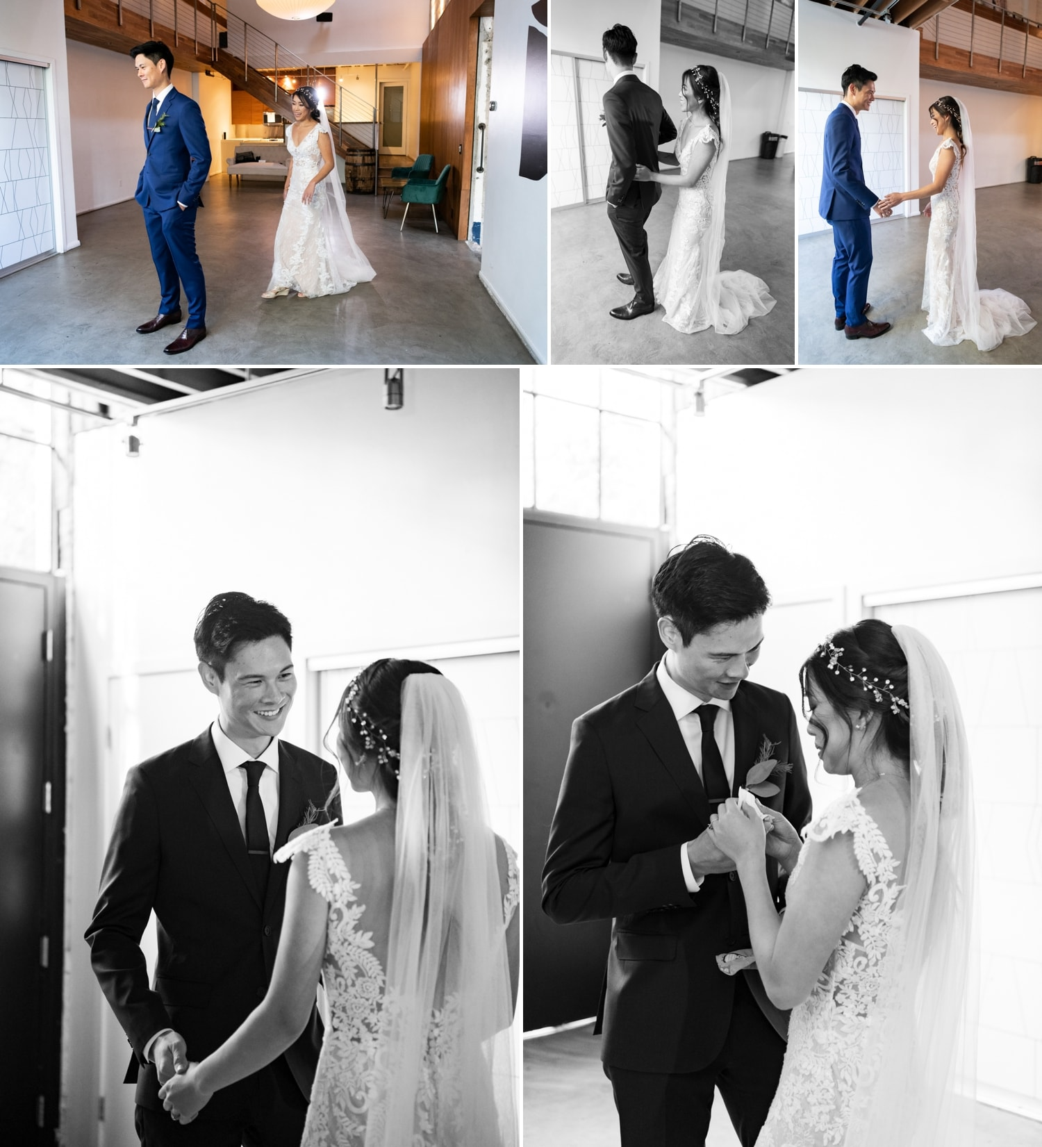 Bride and groom first look in Luce Loft.