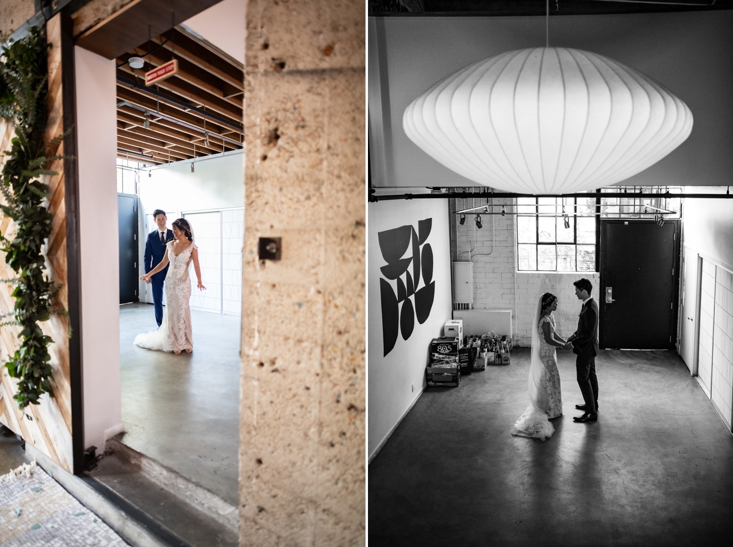 First look between bride and groom at Luce Loft in San Diego.