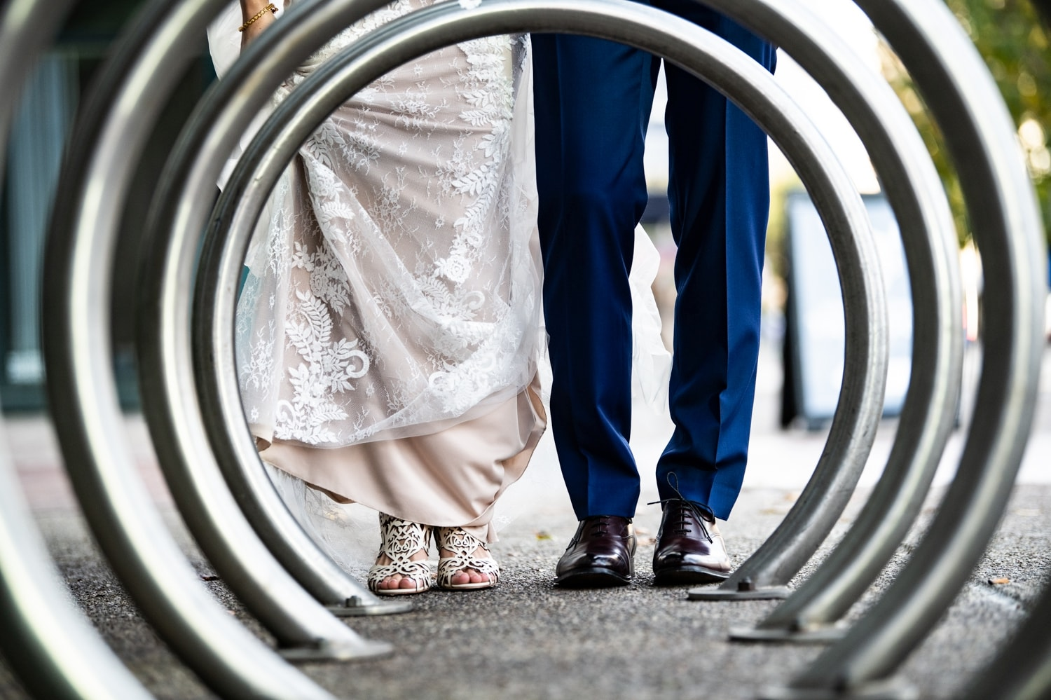Bride and grooms legs.