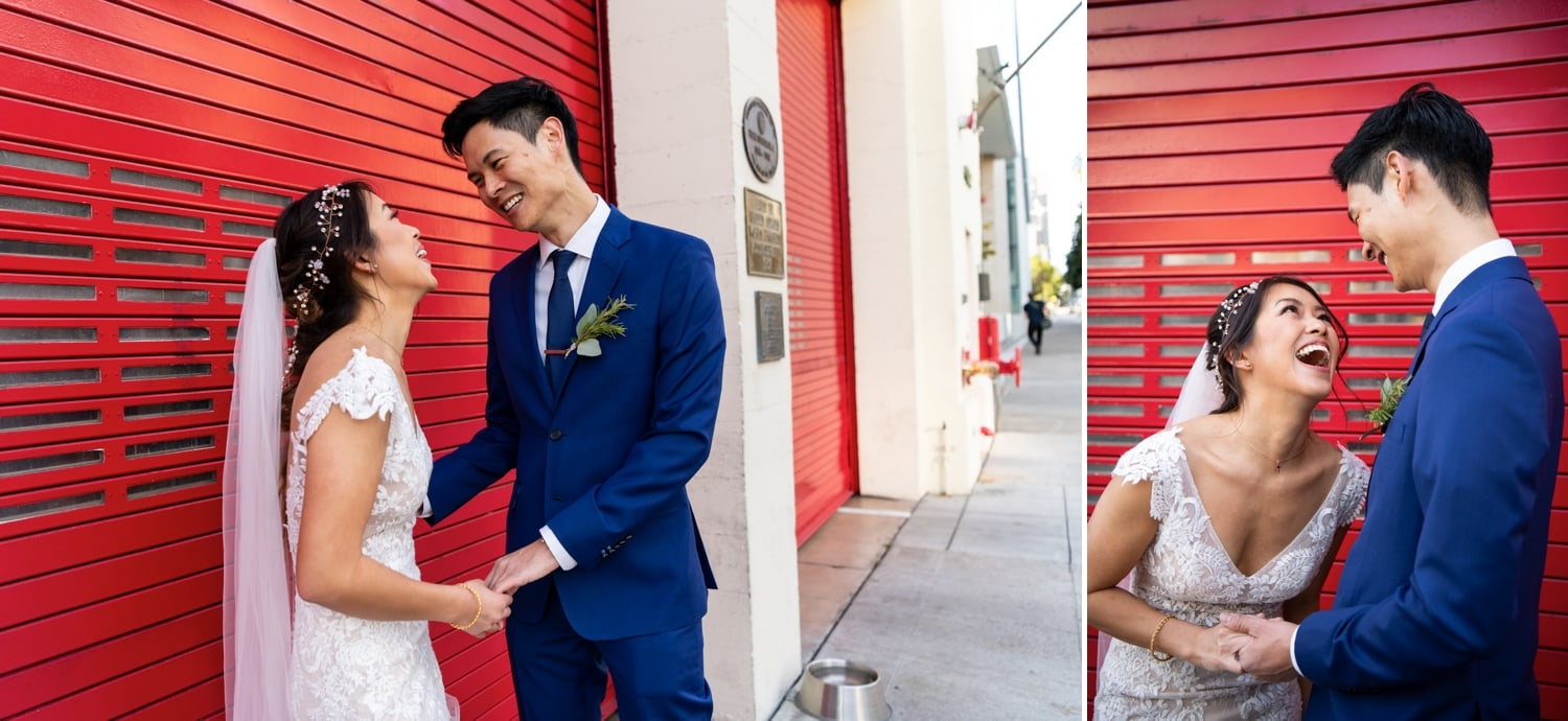 Bride and groom outside San Diego Fire House before their wedding.