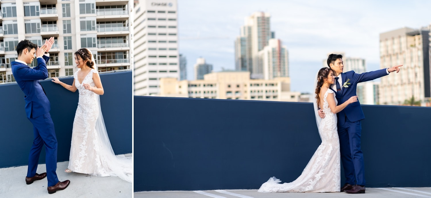 Bride and groom on a San Diego rooftop with the skyline in the background.