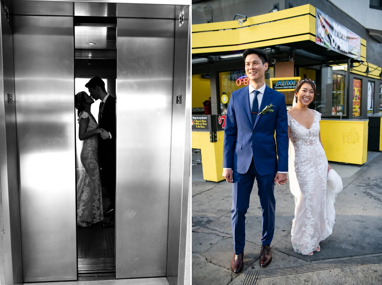Bride and groom in an elevator in San Diego.