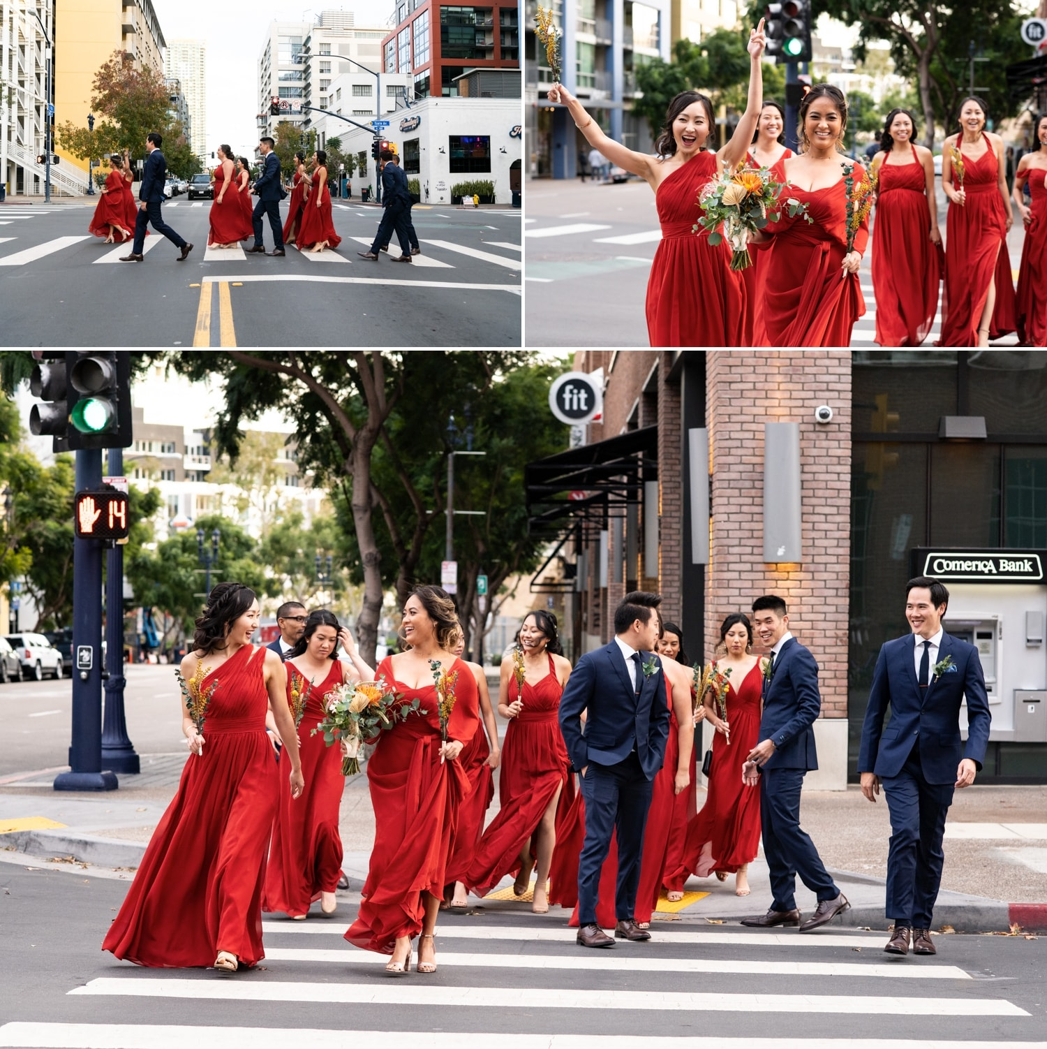 Bridal party walking through downtown San Diego.