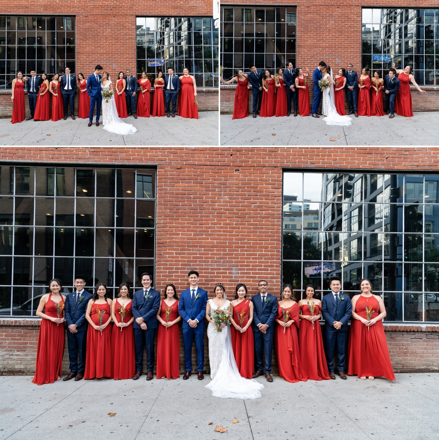 Bridal party in front of a brick wall in San Diego.