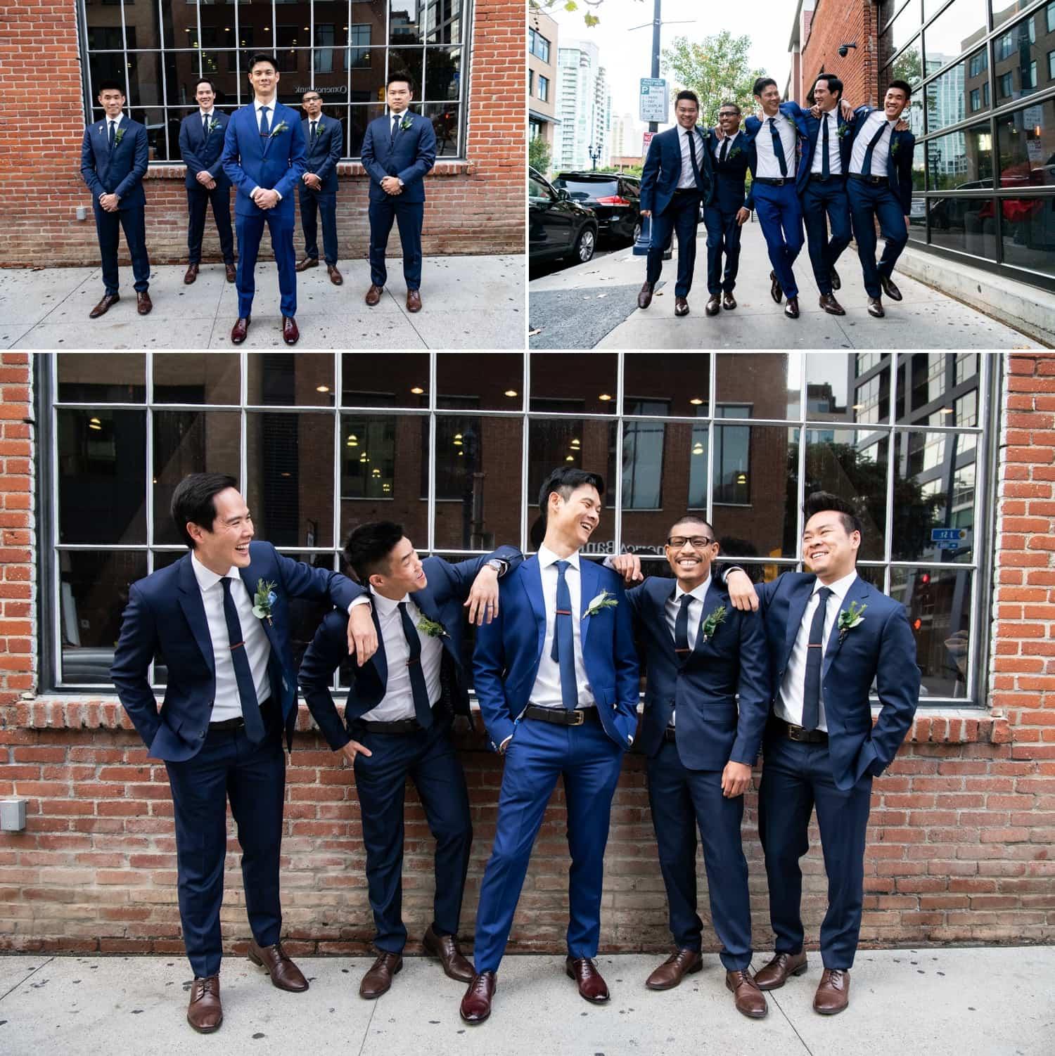 Groom with his groomsmen in downtown San Diego.