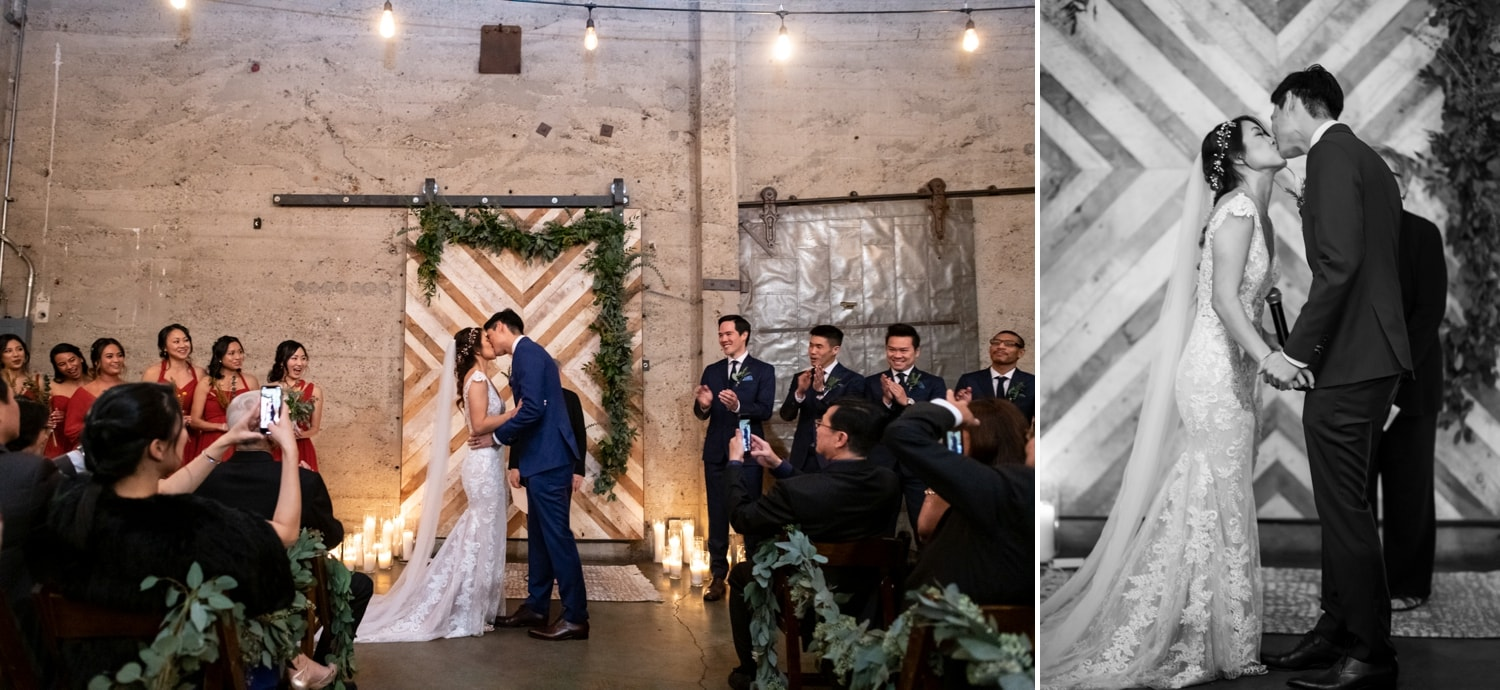 Bride and groom's first kiss at Luce Loft.
