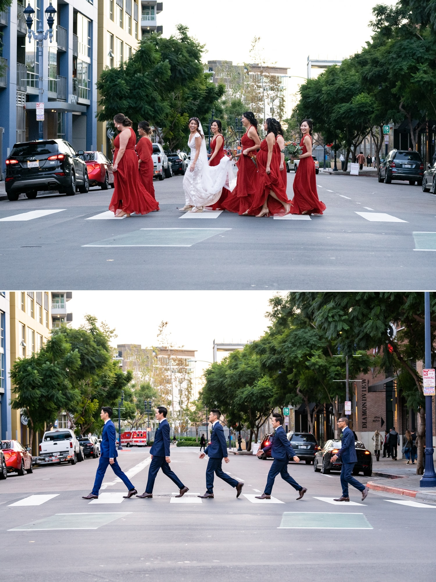Bridal party walking across the street in downtown San Diego.