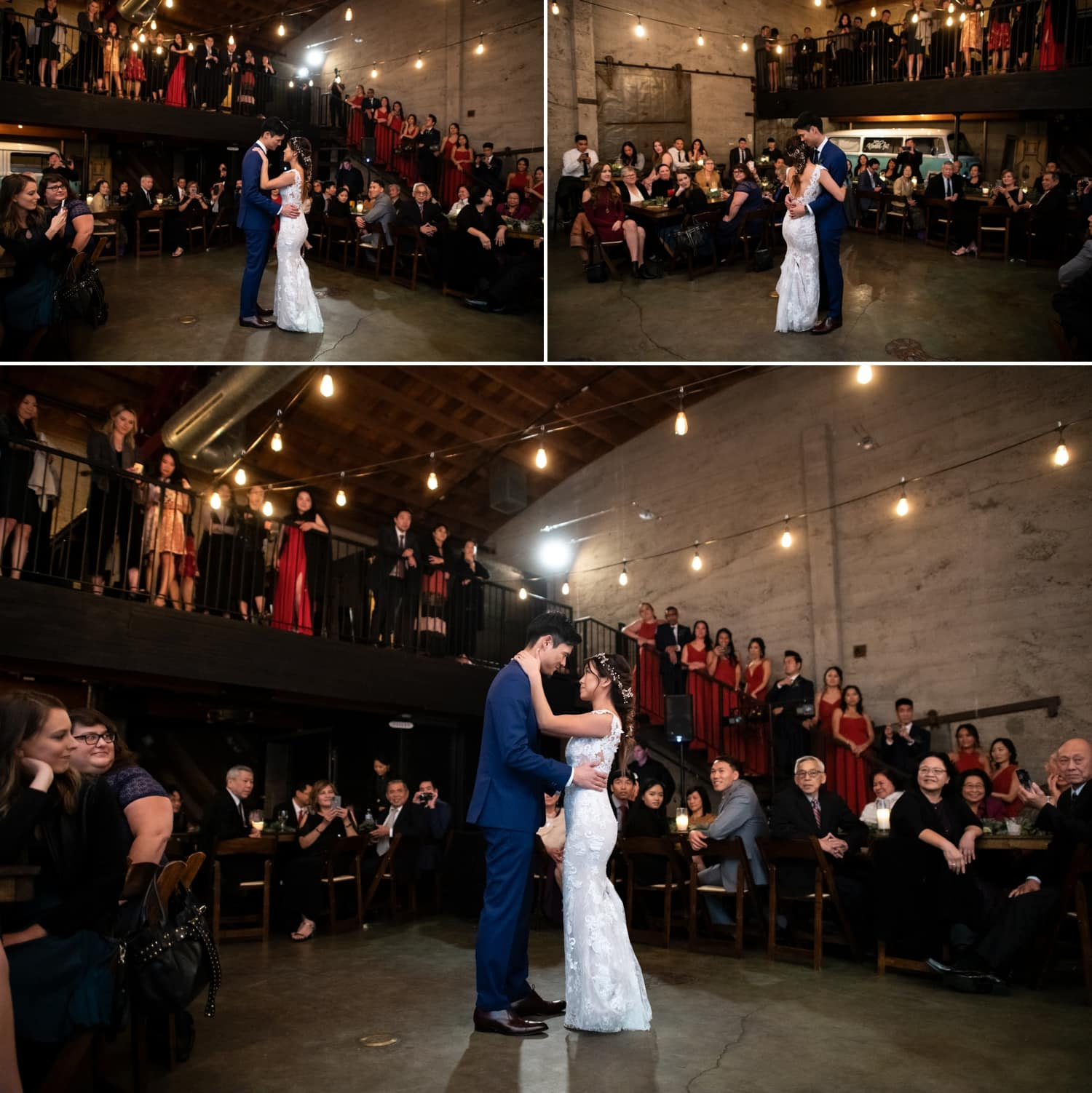 Bride and groom's first dance at Luce Loft.