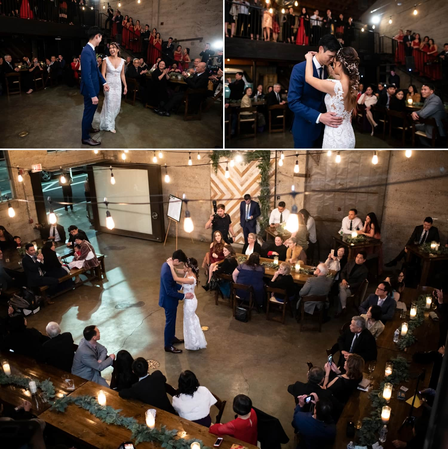 First dance between bride and groom at Luce Loft in San Diego.