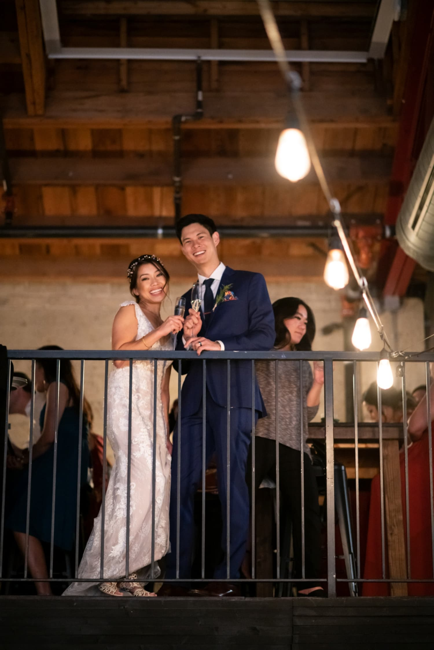 Bride and groom in the loft at Luce Loft in San Diego.