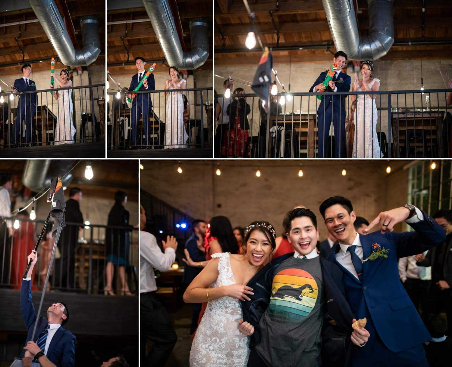Couple with a T-shirt gun at their wedding.