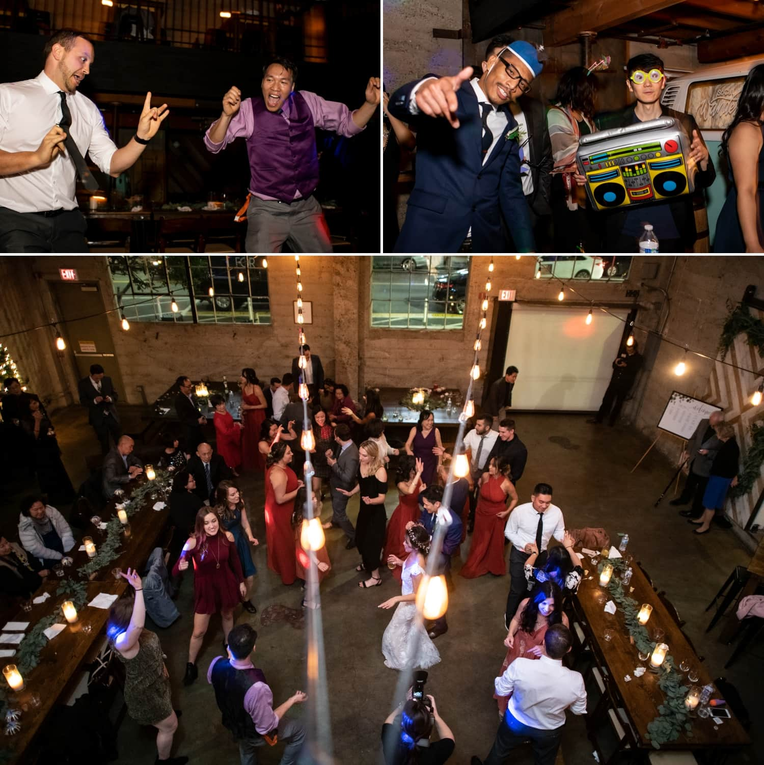 People dancing at a wedding at Luce Loft.