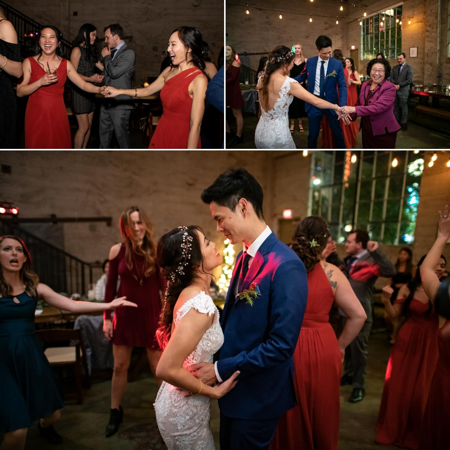 People dancing at a Luce Loft wedding in San Diego.