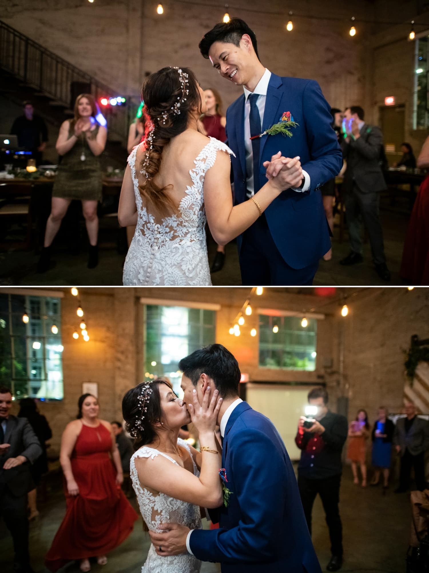 Bride and groom's last dance at their wedding in San Diego.
