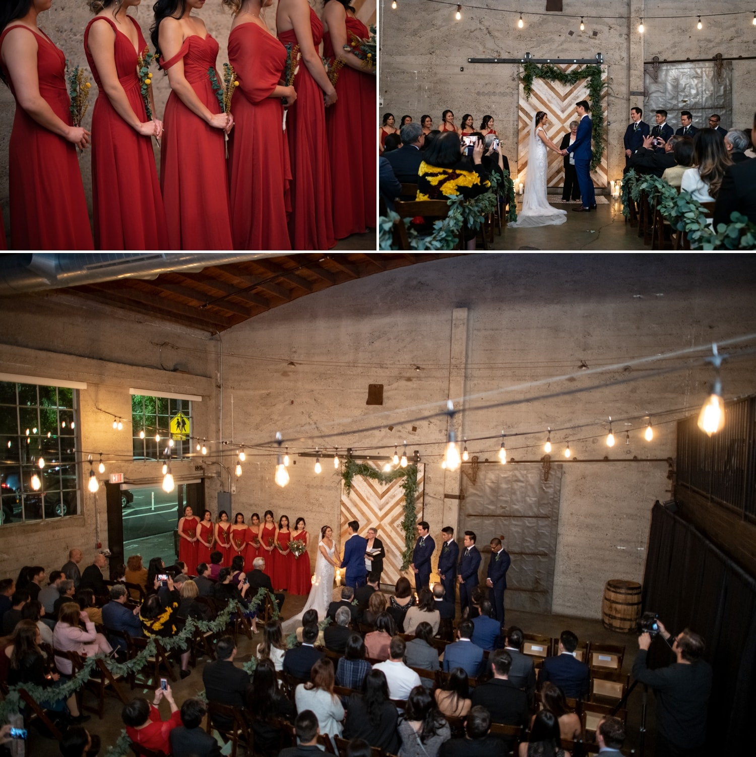 Bride and groom in wedding ceremony at Luce Loft.
