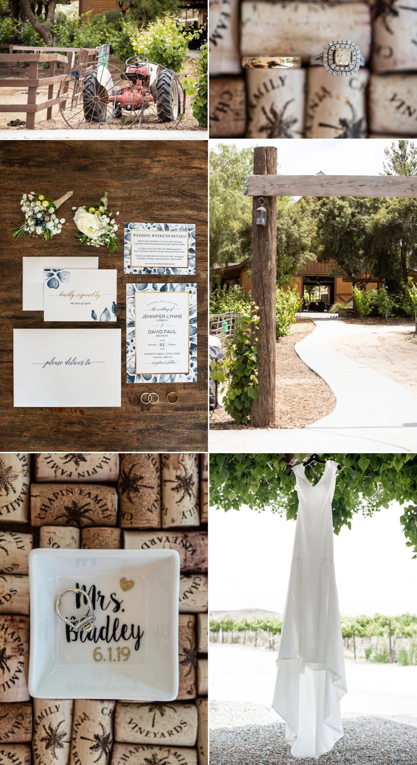 Wedding details at Chapin Family Vineyards.