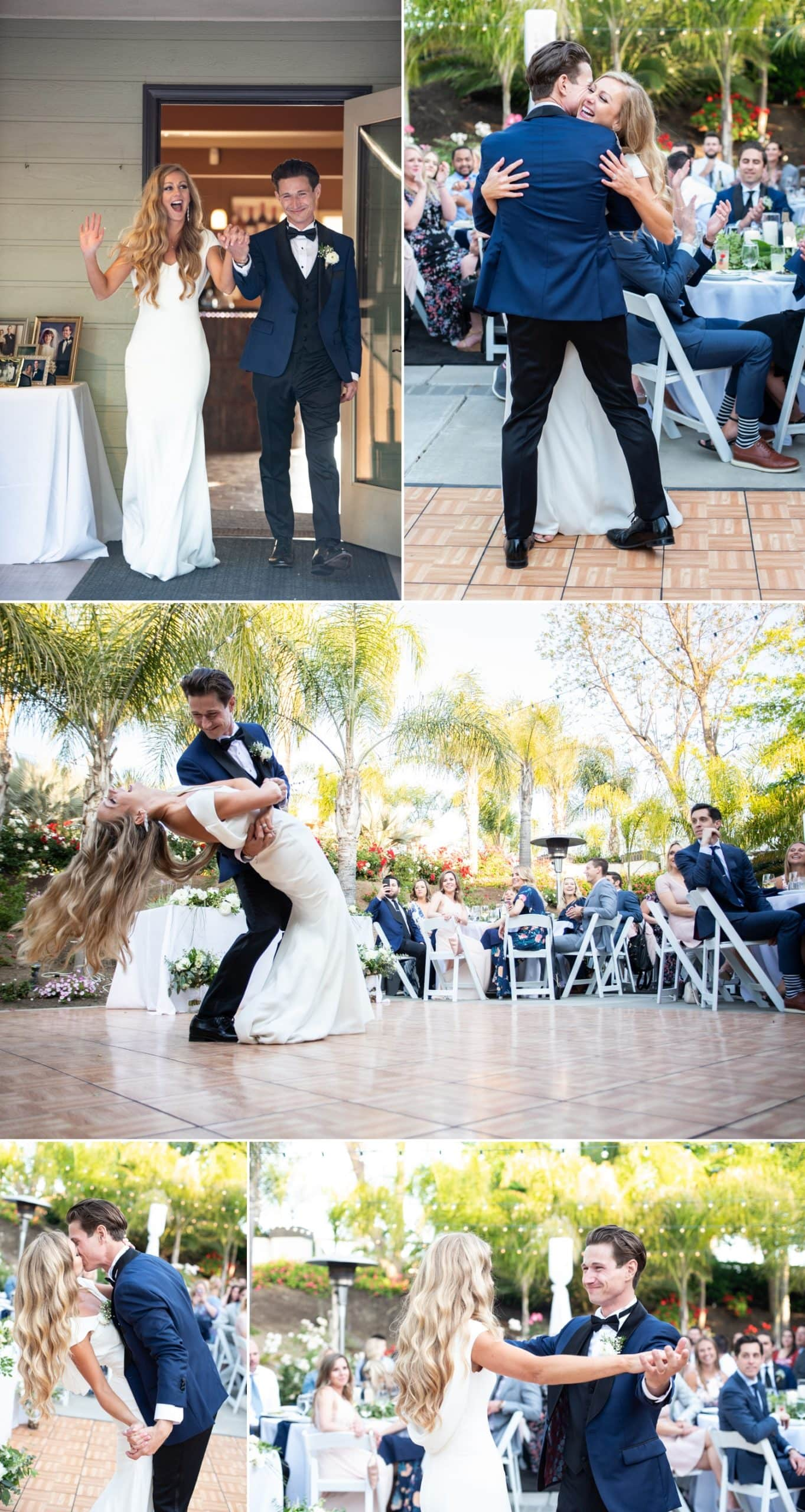 Bride and groom doing their first dance at Chapin Family Vineyards in Temecula.