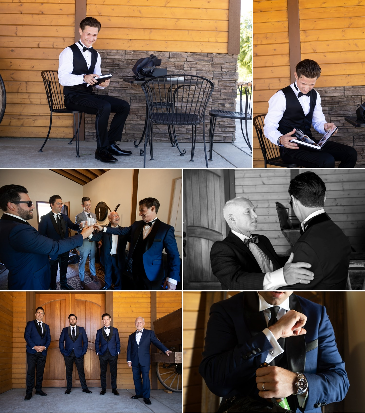 Groom and his groomsmen before the ceremony at Chapin Family Vineyards.