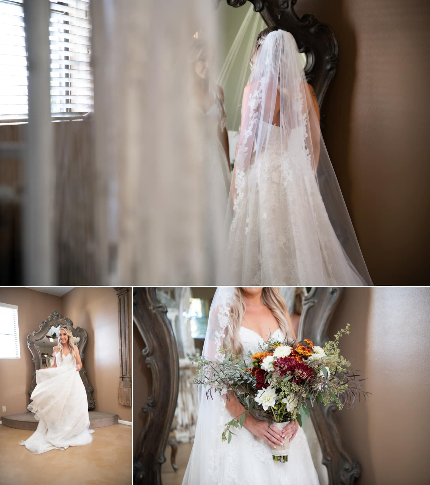 Bride in front of a mirror in the bridal suite at Ethereal Gardens.