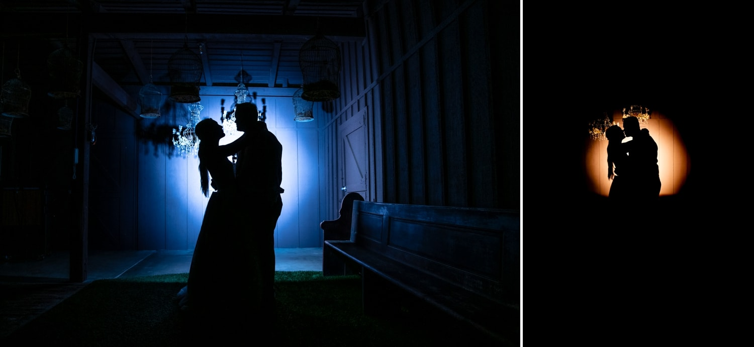 Bride and groom together by the barn at Ethereal at night.
