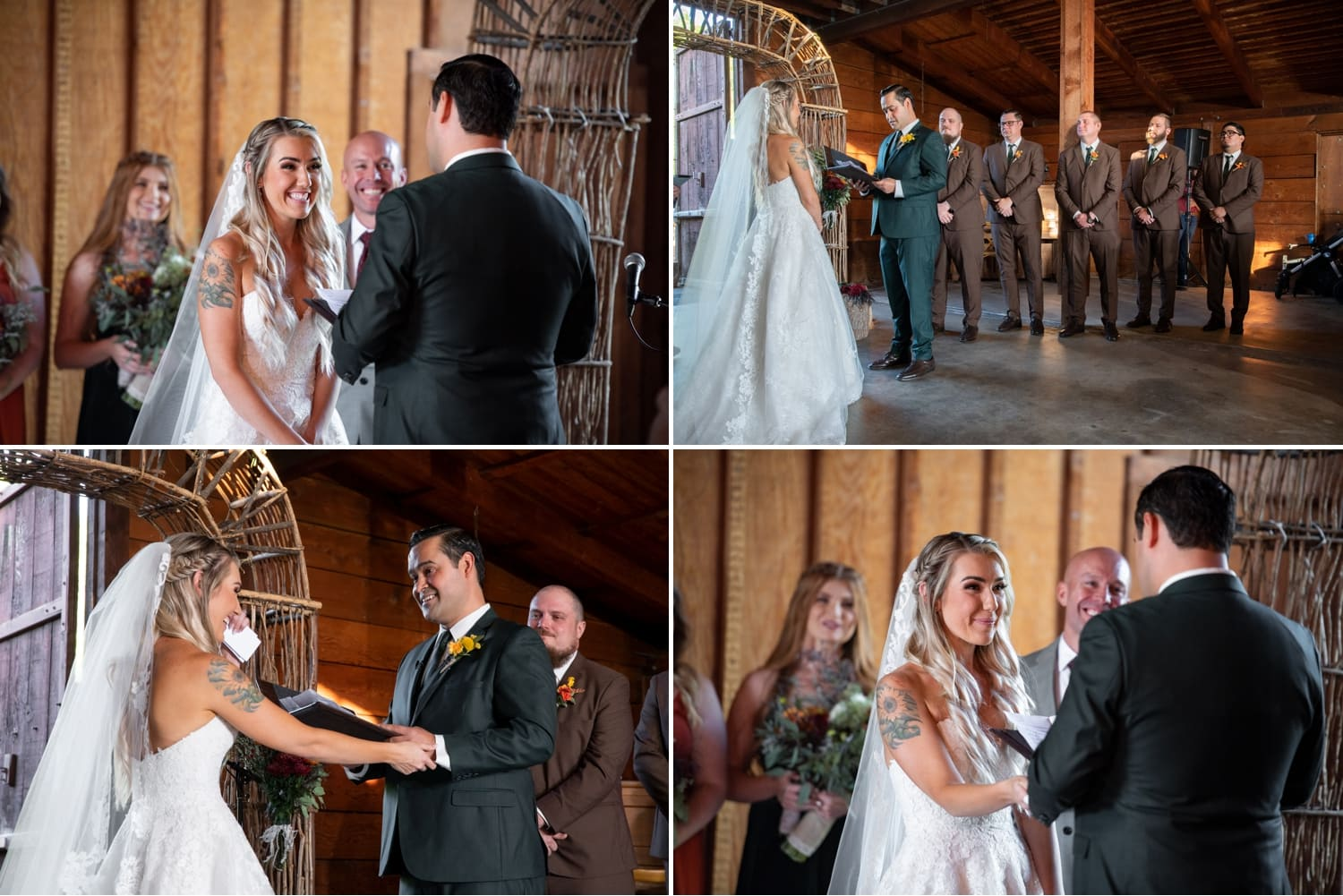 Bride and groom exchanging vows in a barn wedding ceremony at Ethereal Gardens.