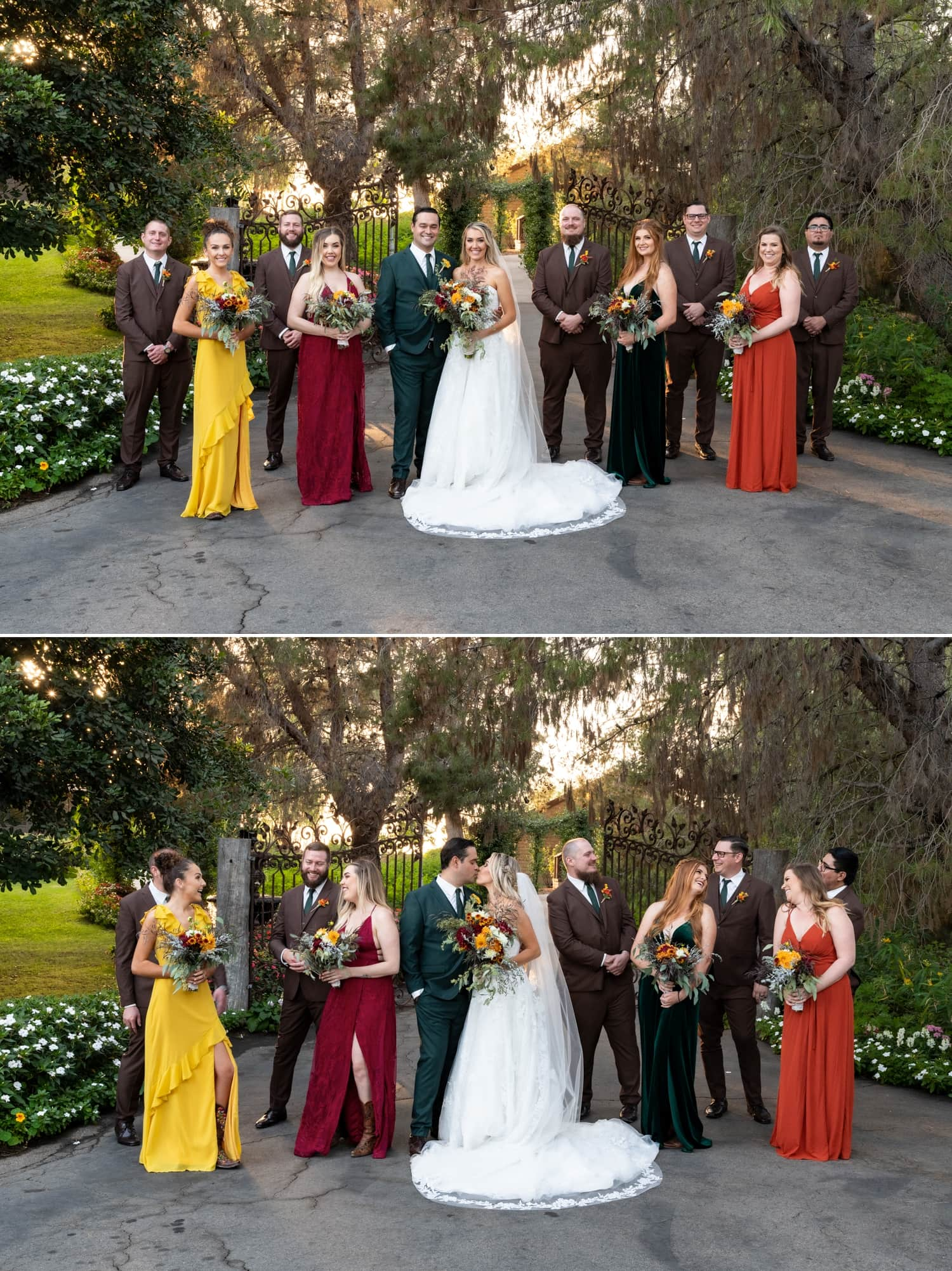 Wedding party in front of the gate at Ethereal Gardens in Escondido, CA.