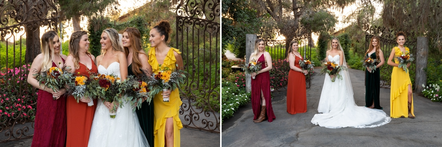 Bridesmaids in front of the gate at Ethereal Gardens in Escondido.
