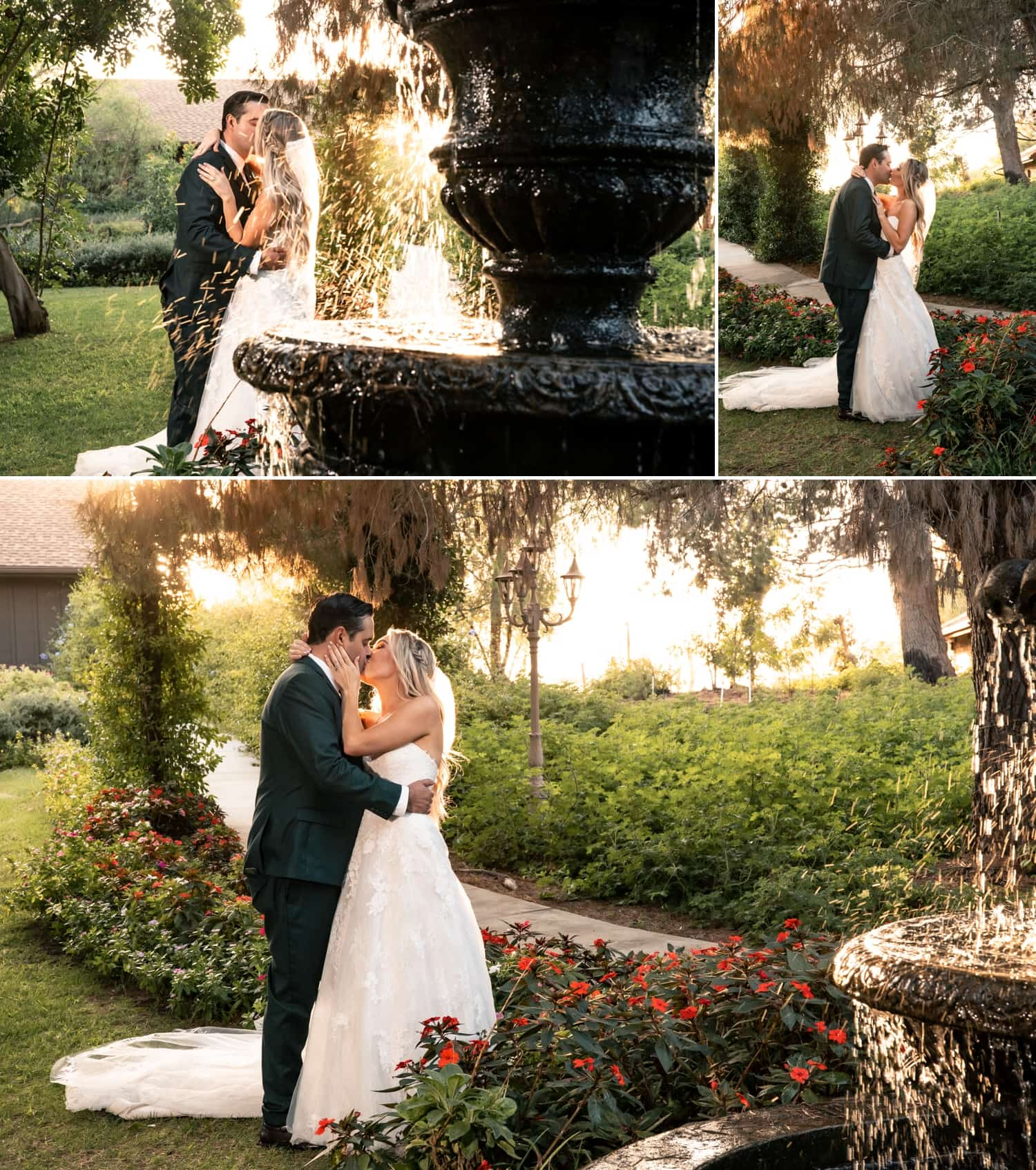 Bride and groom by the water fountain at Ethereal Gardens.