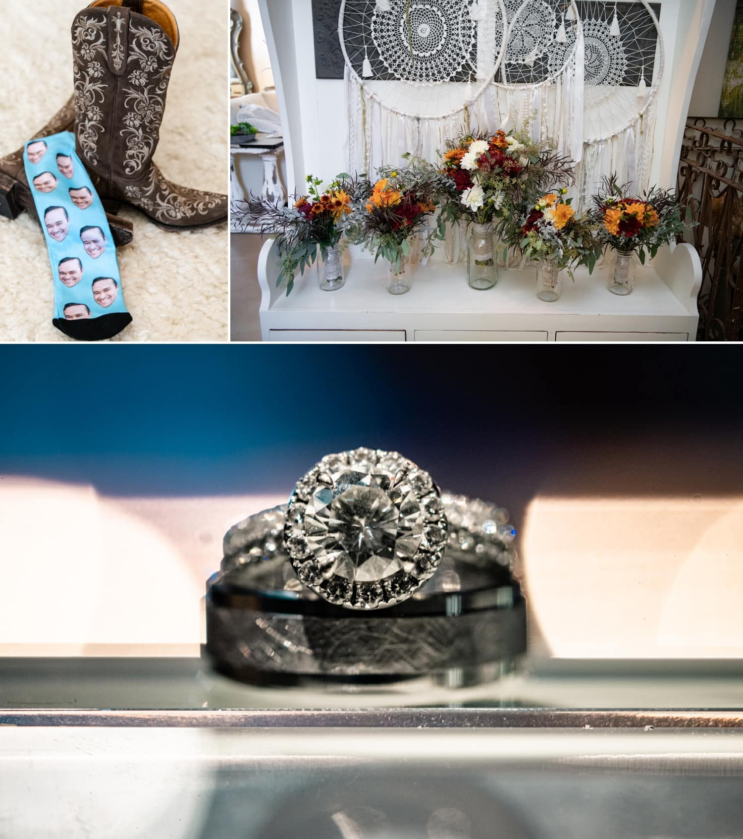 Wedding bouquets and wedding rings in the bridal suite.