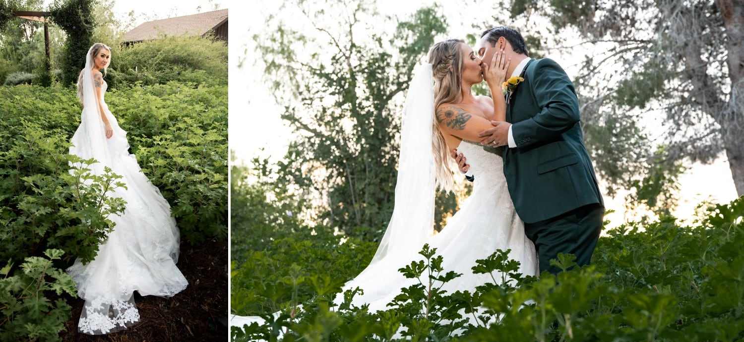 Bride and groom in greenery at Ethereal Gardens.