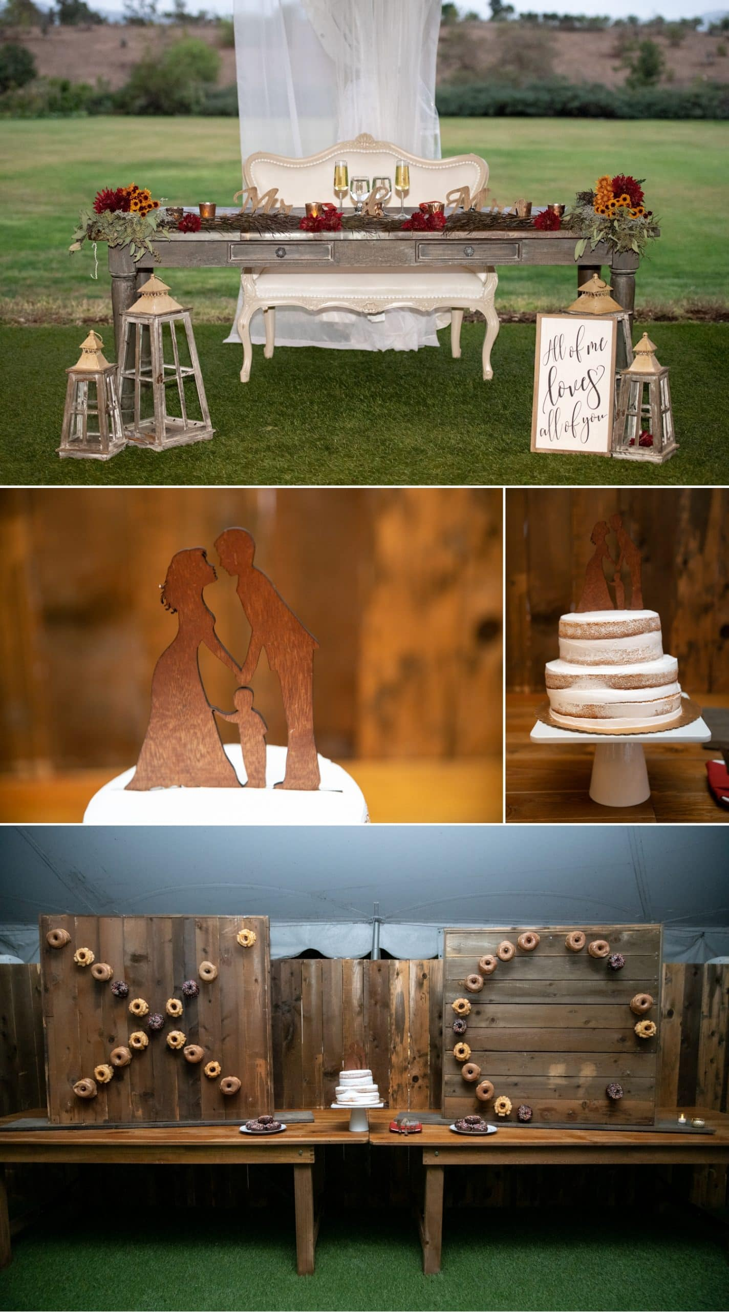 Sweetheart table and cake table at Ethereal Gardens.