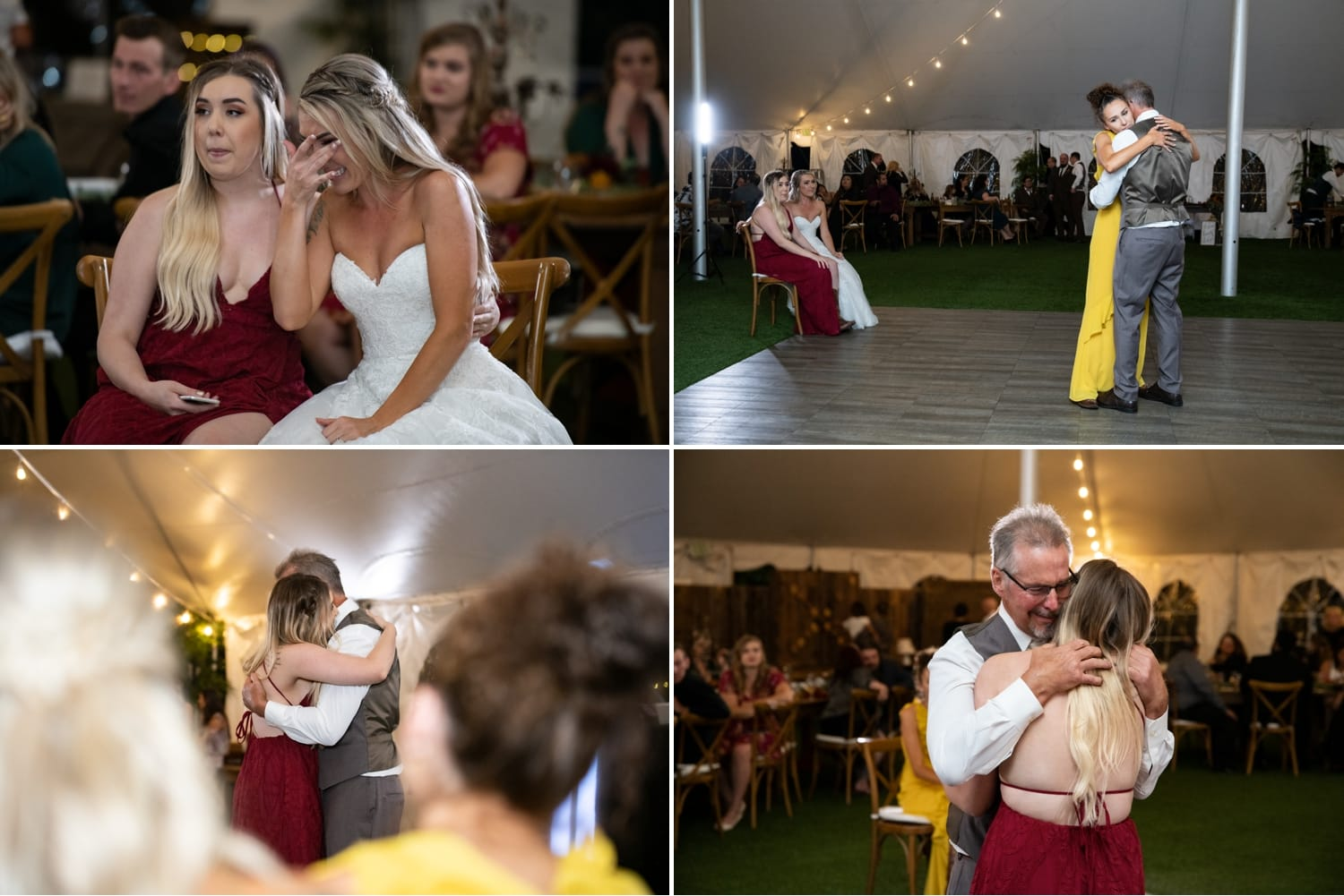 Bride's sisters dancing with dad at wedding.