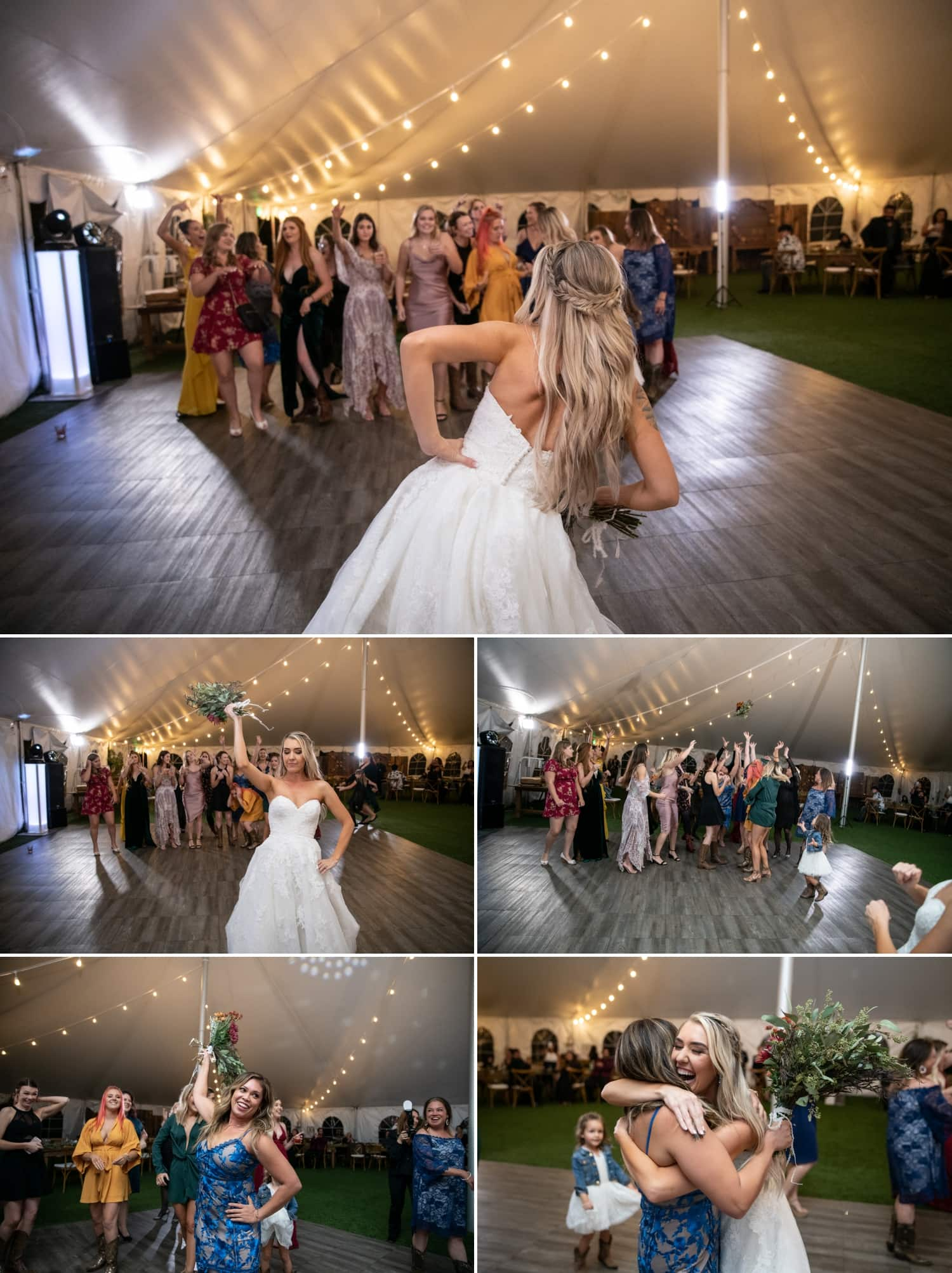Bride doing the bouquet toss at Ethereal Gardens.