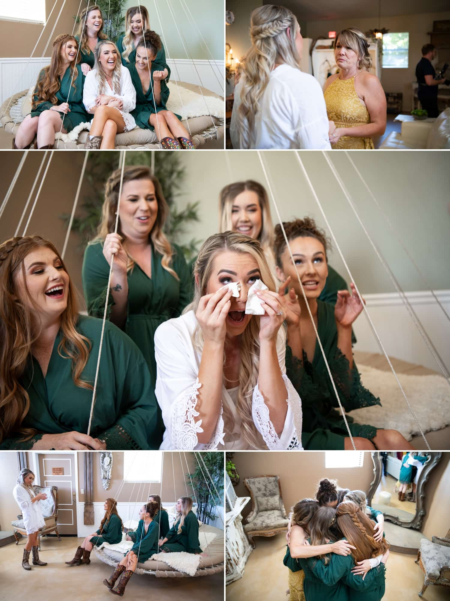 Bride and her bridesmaids and her mother in the bridal suite at Ethereal Gardens.