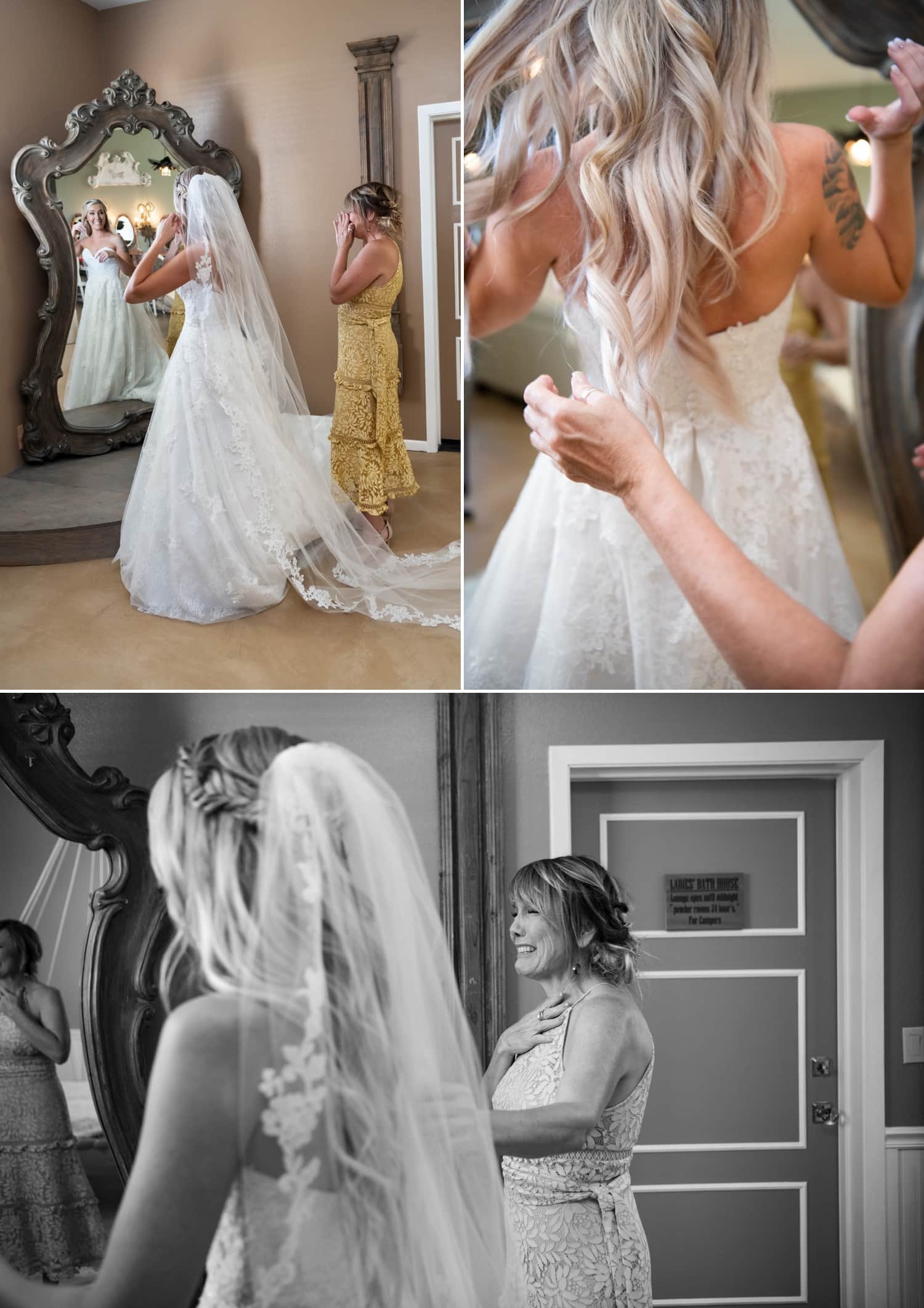 Bride getting her veil put on in the bridal suite at Ethereal Gardens.