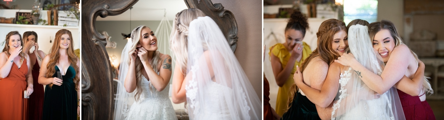 Bridesmaids reacting to seeing the bride for the first time.