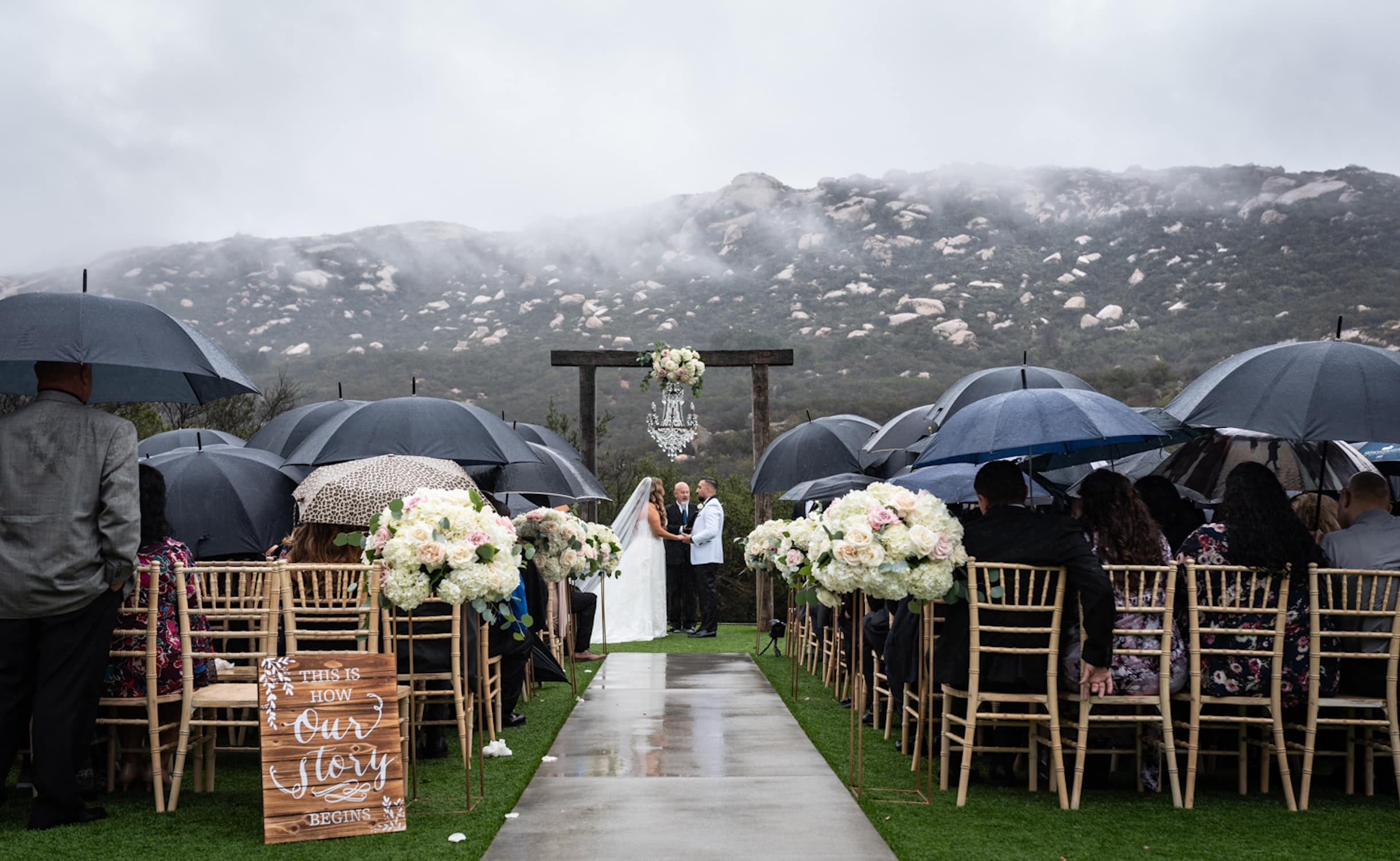 Rainy wedding ceremony in Temecula, California.
