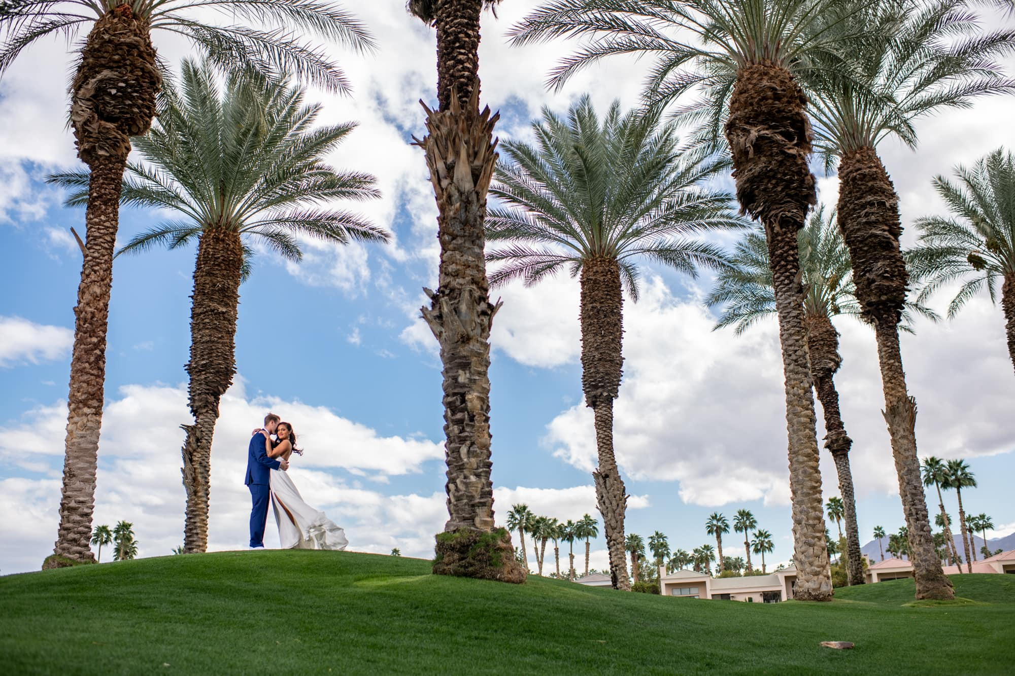 Bride and groom in Palm Spring, Ca.