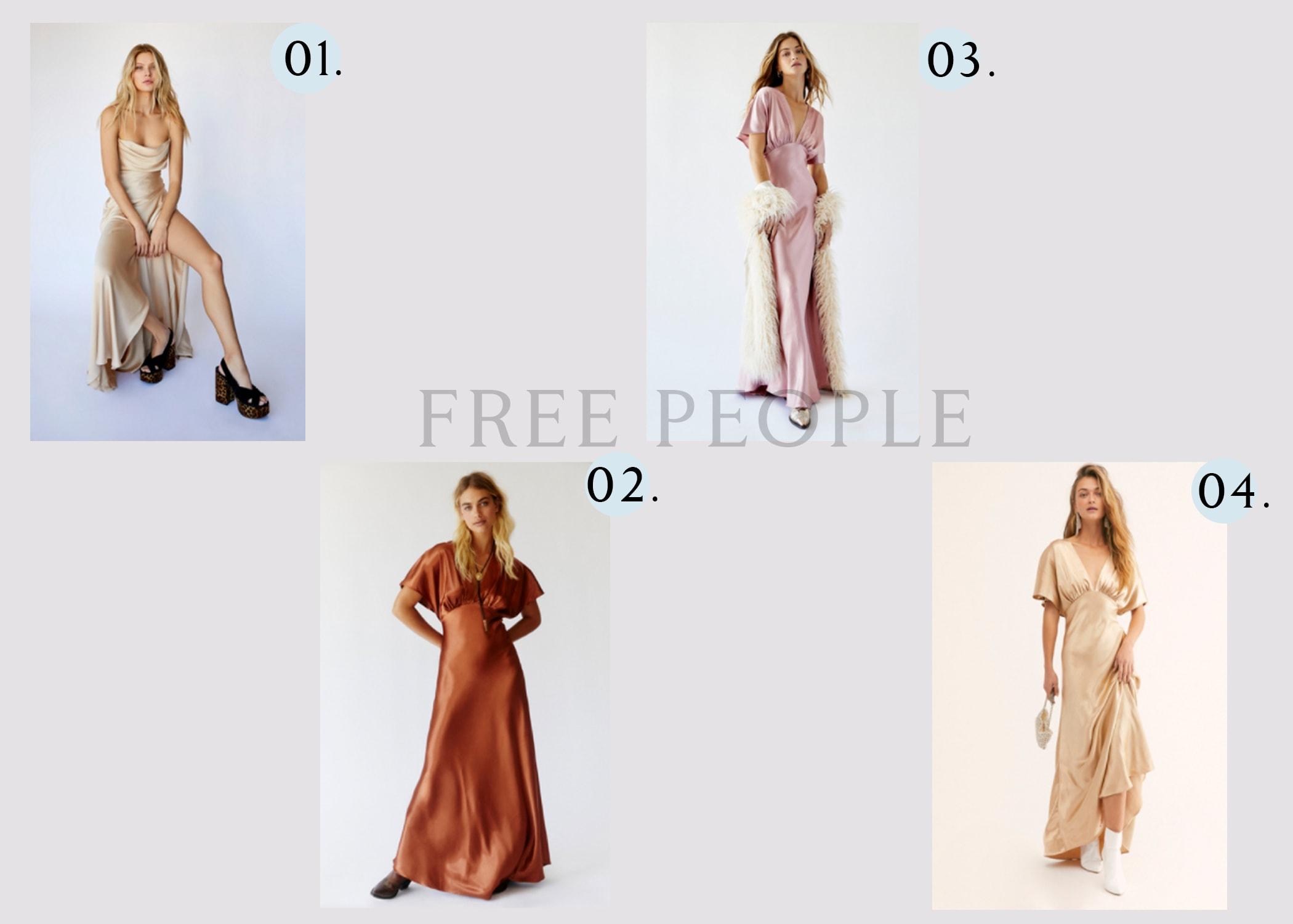 Free People clothing brand bridesmaid dresses.
