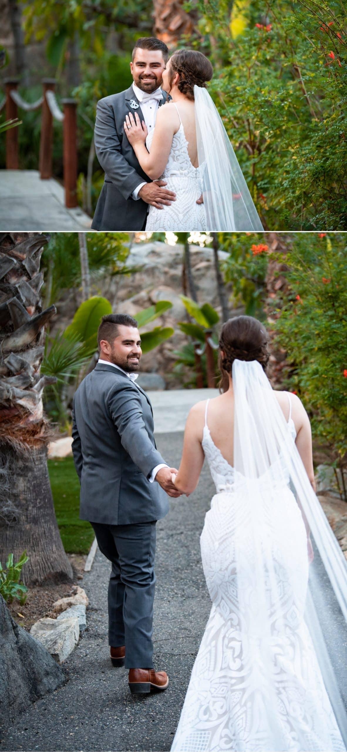 Bride and groom at Botanica in Oceanside, CA.