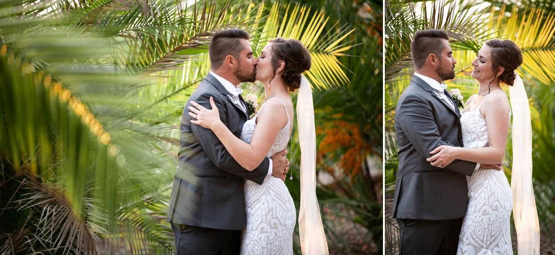 Bride and groom in the gardens at Botanica wedding venue in Oceanside.