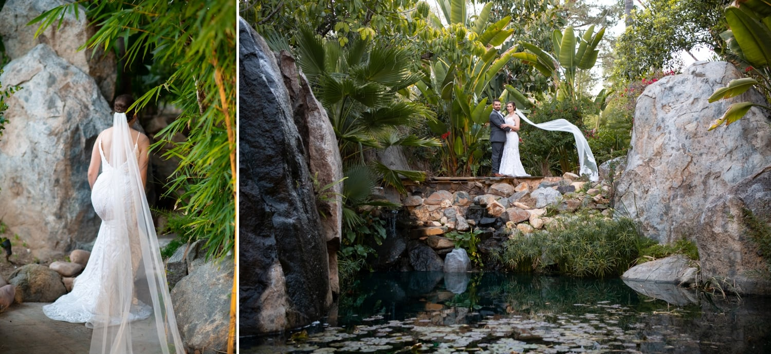 Bride and groom at the waterfall at Botanica wedding venue.