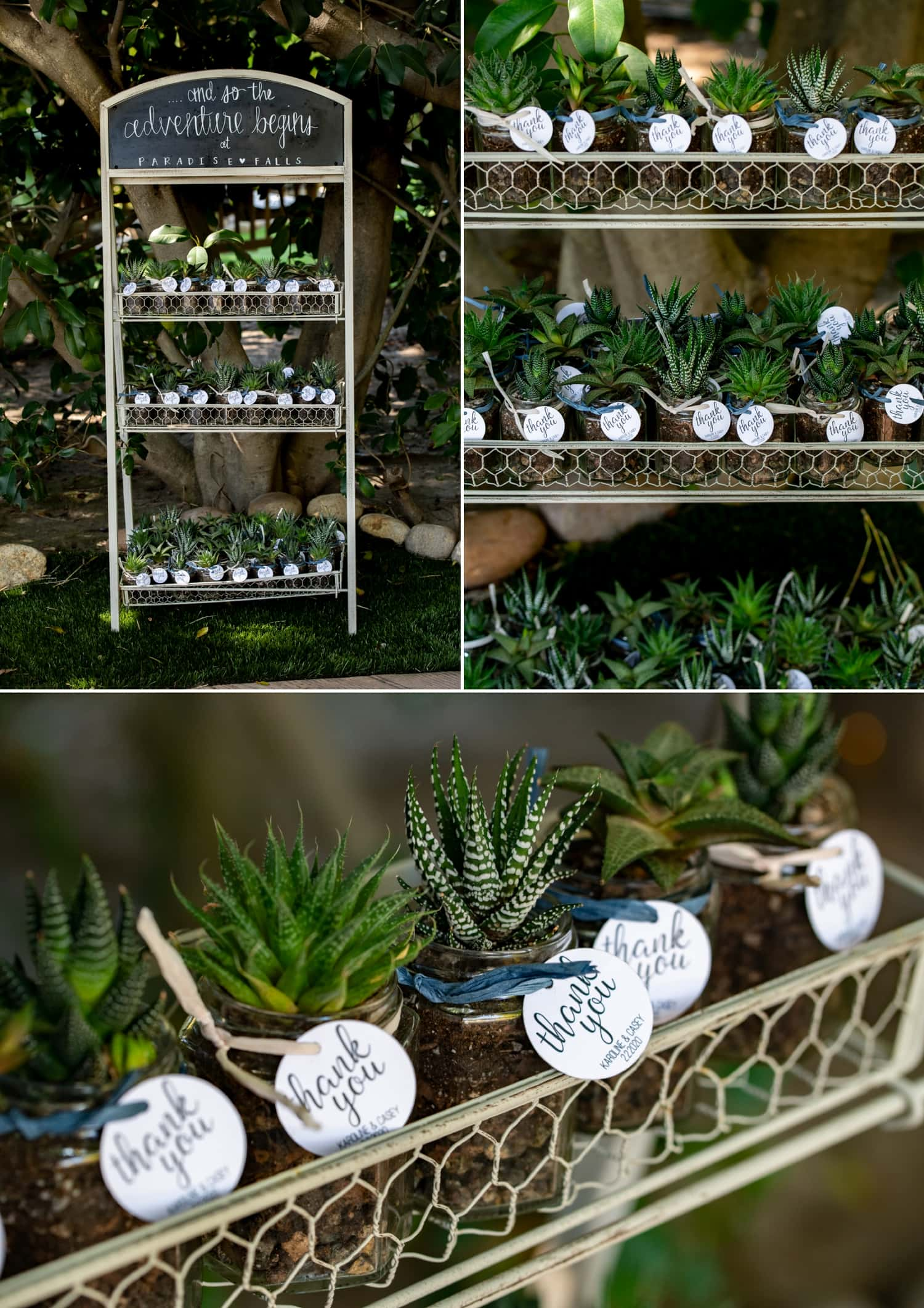 Wedding party favors at Botanica wedding Venue