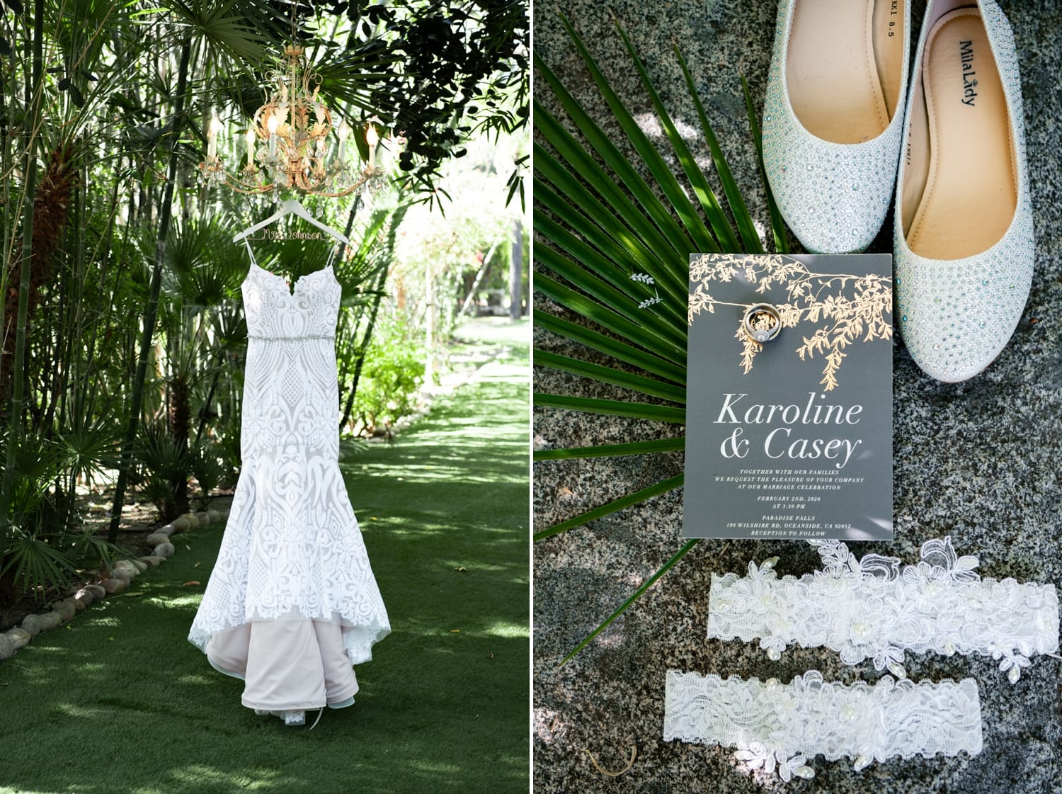 Bride's dress and shoes at Botanica