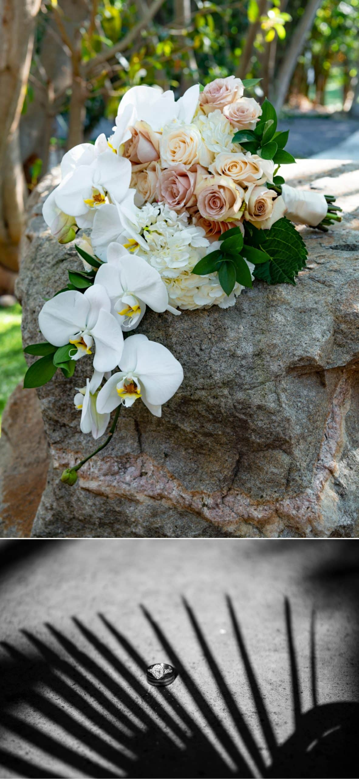 Bridal bouquet and wedding rings at Botanica